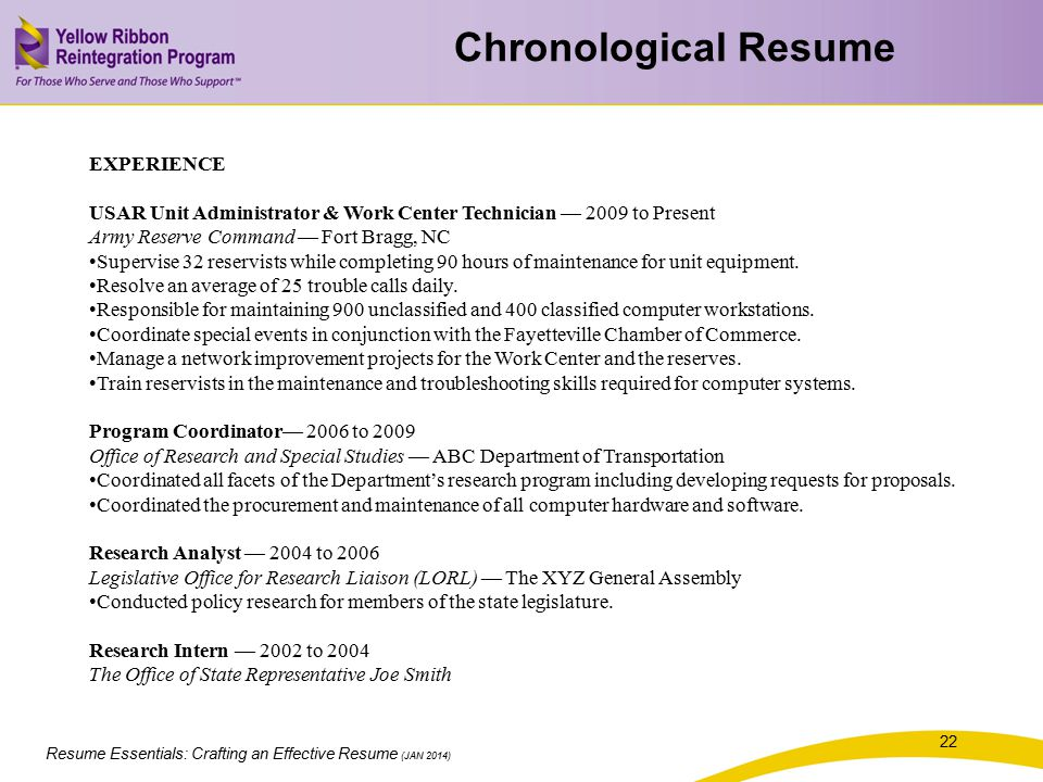 Chronological Resume EXPERIENCE