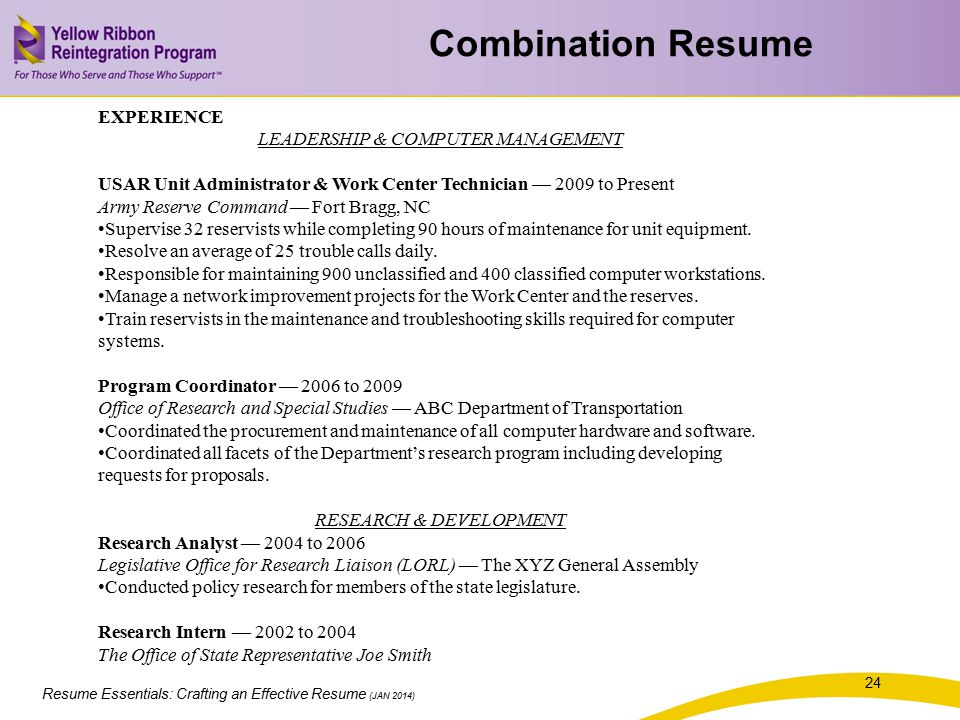 Combination Resume EXPERIENCE LEADERSHIP & COMPUTER MANAGEMENT