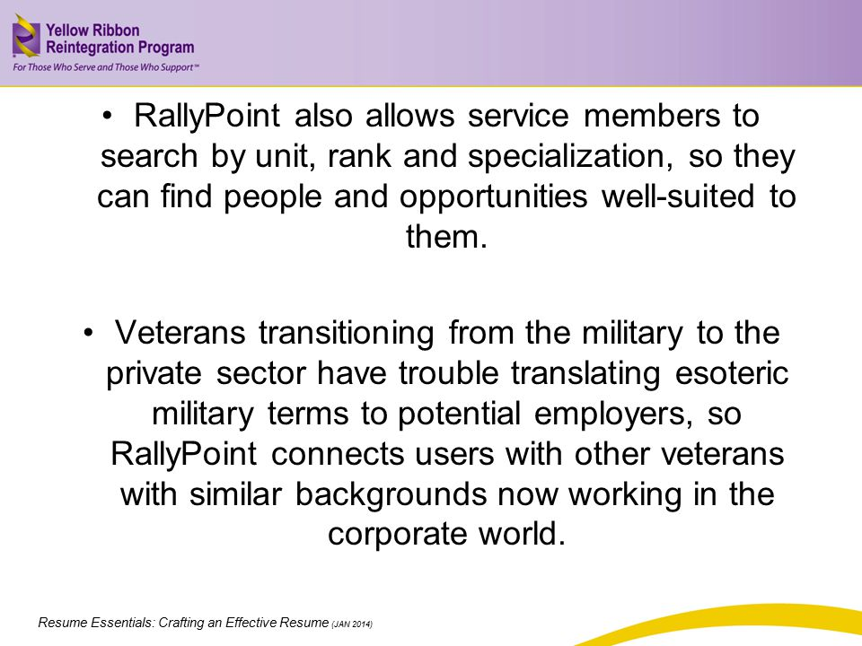 RallyPoint also allows service members to search by unit, rank and specialization, so they can find people and opportunities well-suited to them.