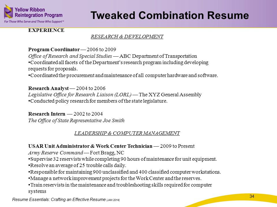 Tweaked Combination Resume