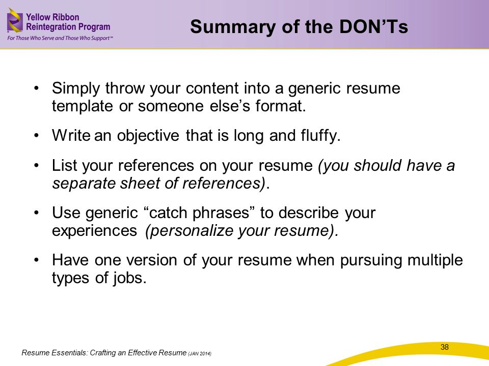 summary of the donts simply throw your content into a generic resume template or
