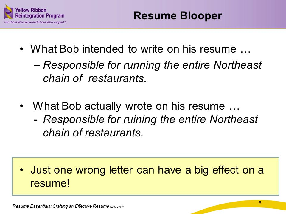 Resume Blooper What Bob intended to write on his resume … Responsible for running the entire Northeast chain of restaurants.