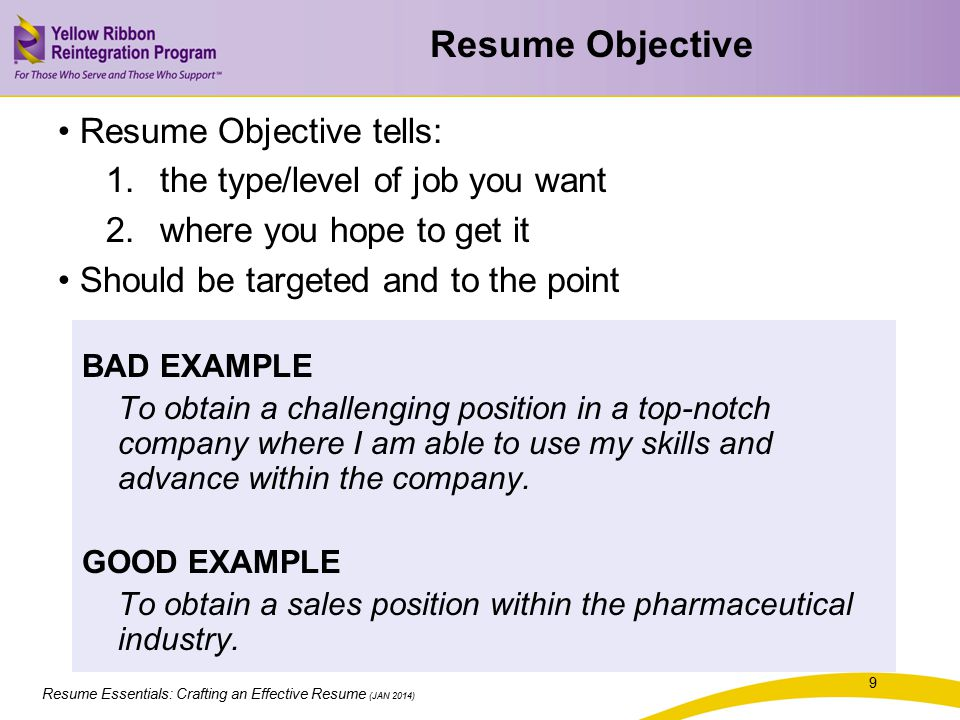 Resume Objective Resume Objective tells: