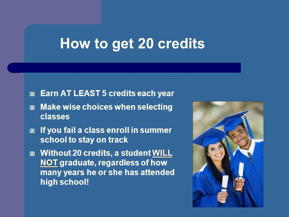 How to get 20 credits Earn AT LEAST 5 credits each year