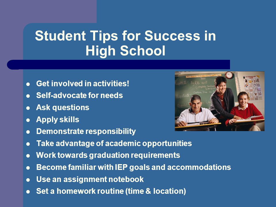 Student Tips for Success in High School