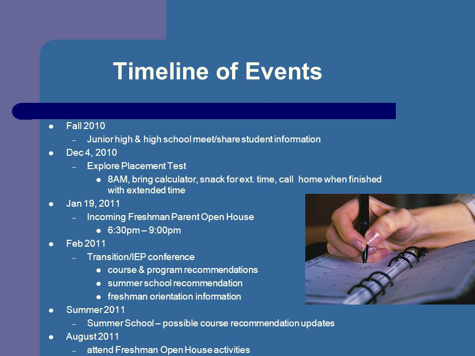 Timeline of Events Fall 2010