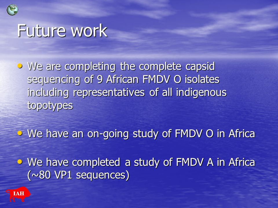 Future work We are completing the complete capsid sequencing of 9 African FMDV O isolates including representatives of all indigenous topotypes.