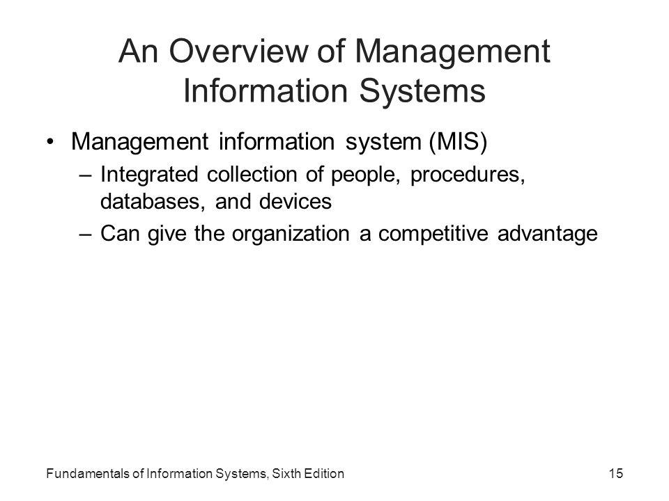 An Overview of Management Information Systems