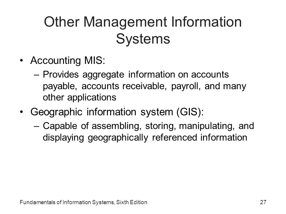 Other Management Information Systems