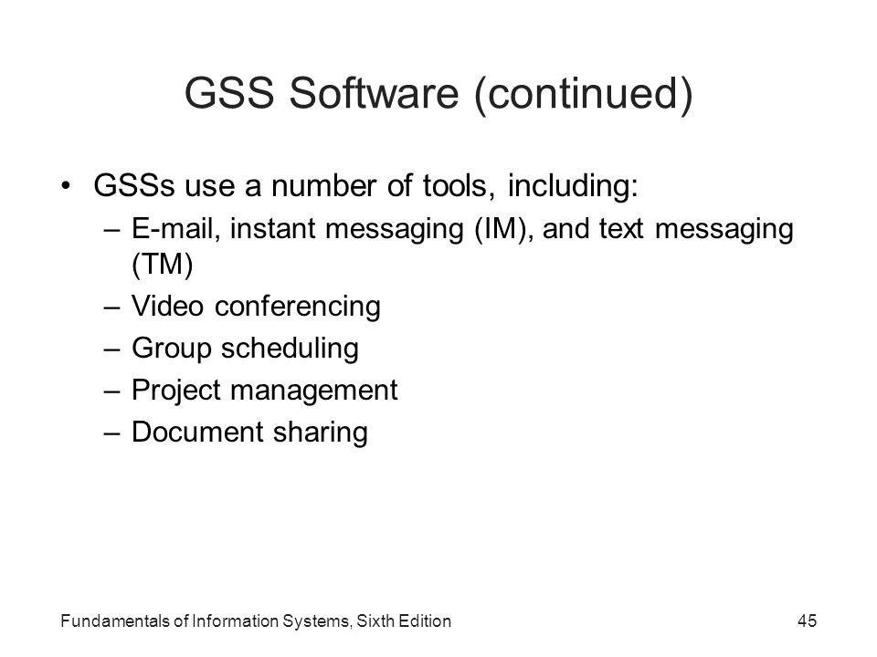 GSS Software (continued)