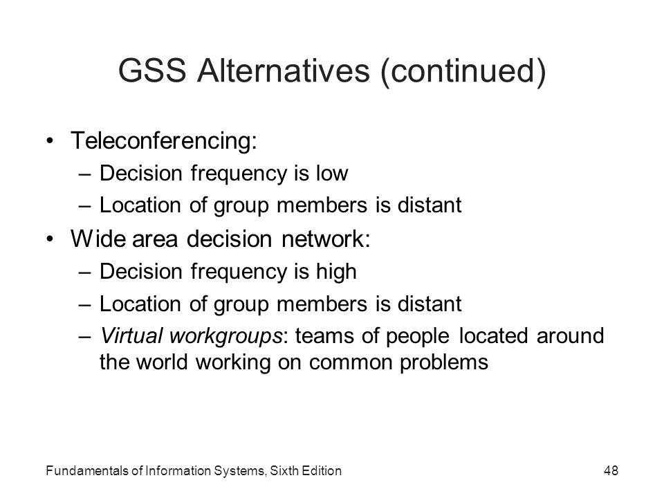 GSS Alternatives (continued)