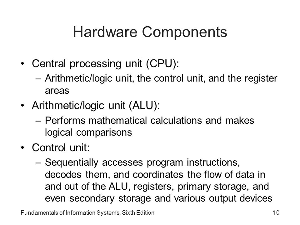 Hardware Components Central processing unit (CPU):