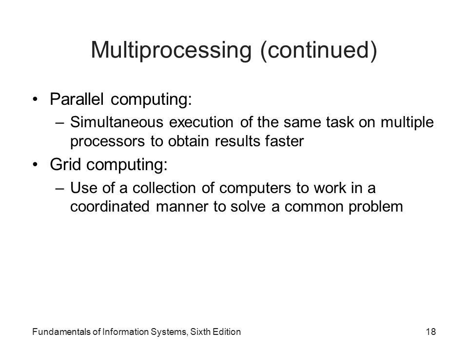 Multiprocessing (continued)