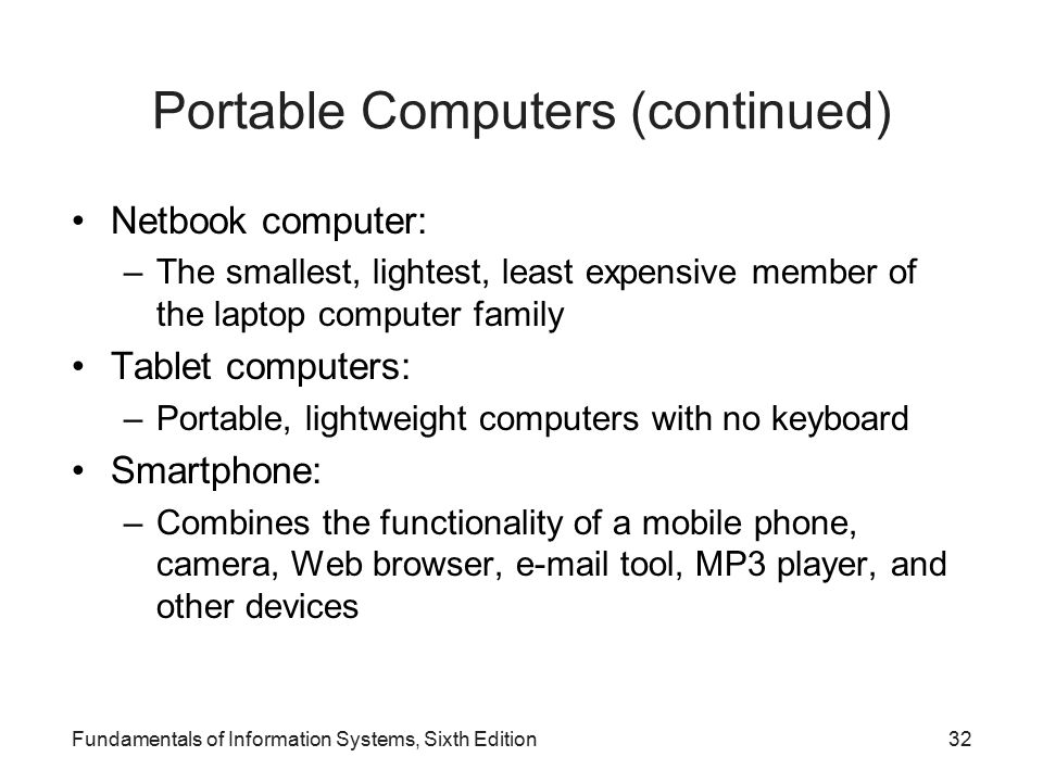 Portable Computers (continued)