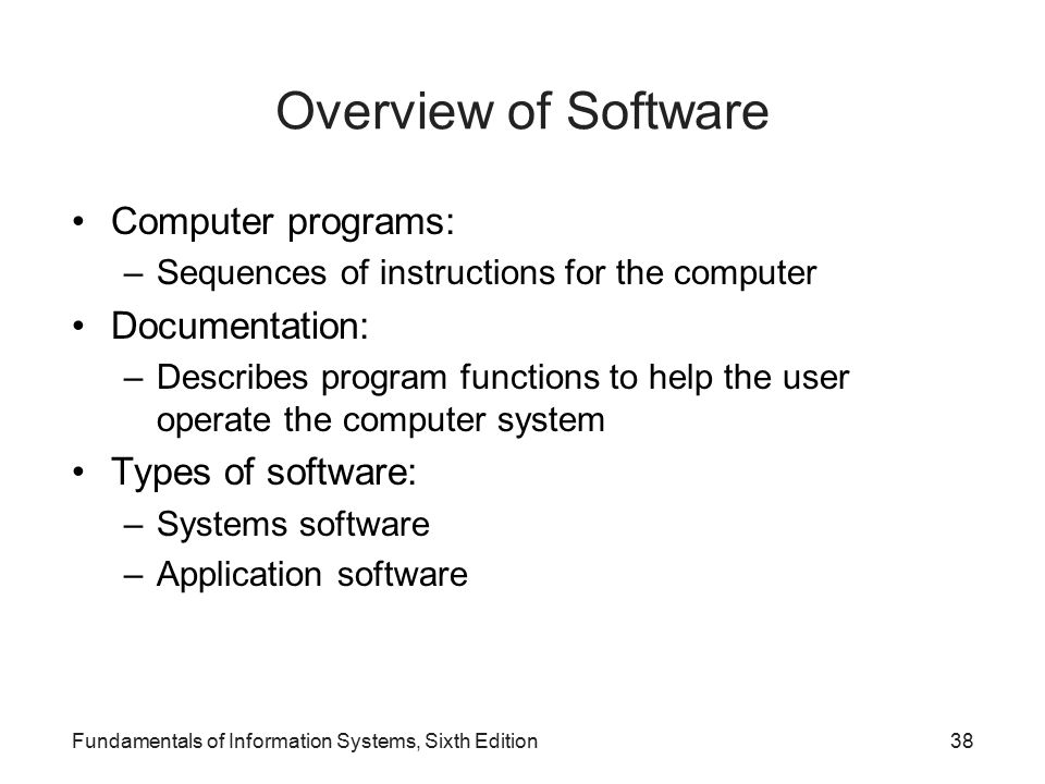 Overview of Software Computer programs: Documentation:
