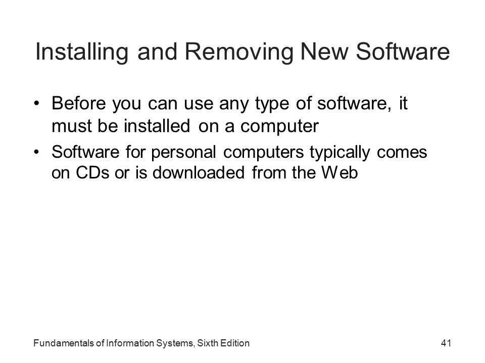 Installing and Removing New Software