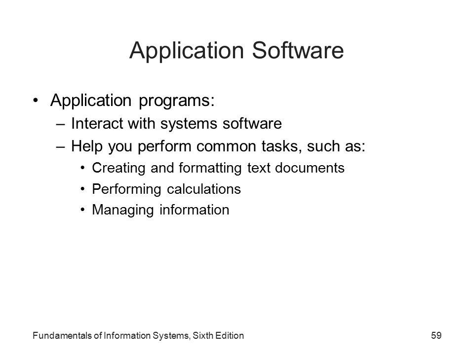 Application Software Application programs: