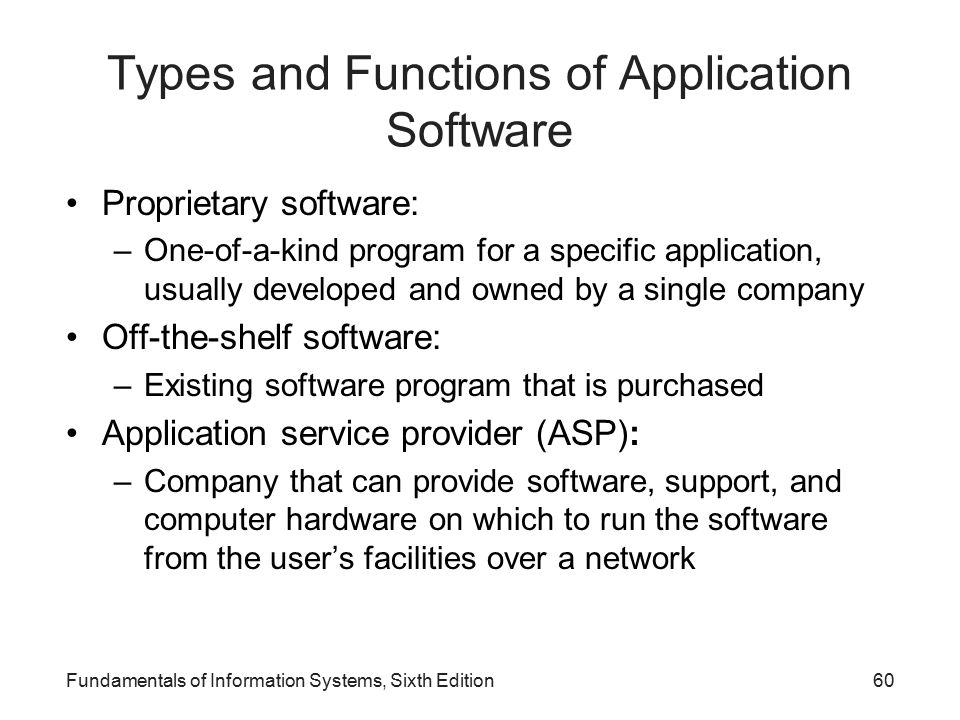 Types and Functions of Application Software