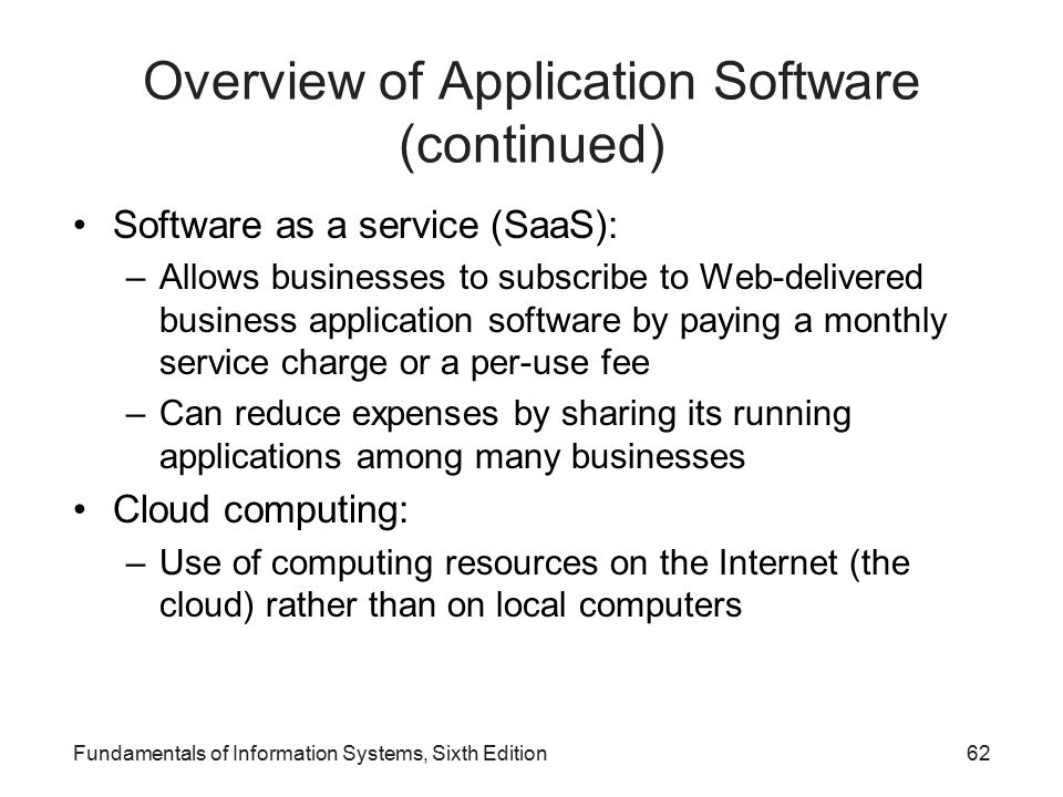 Overview of Application Software (continued)