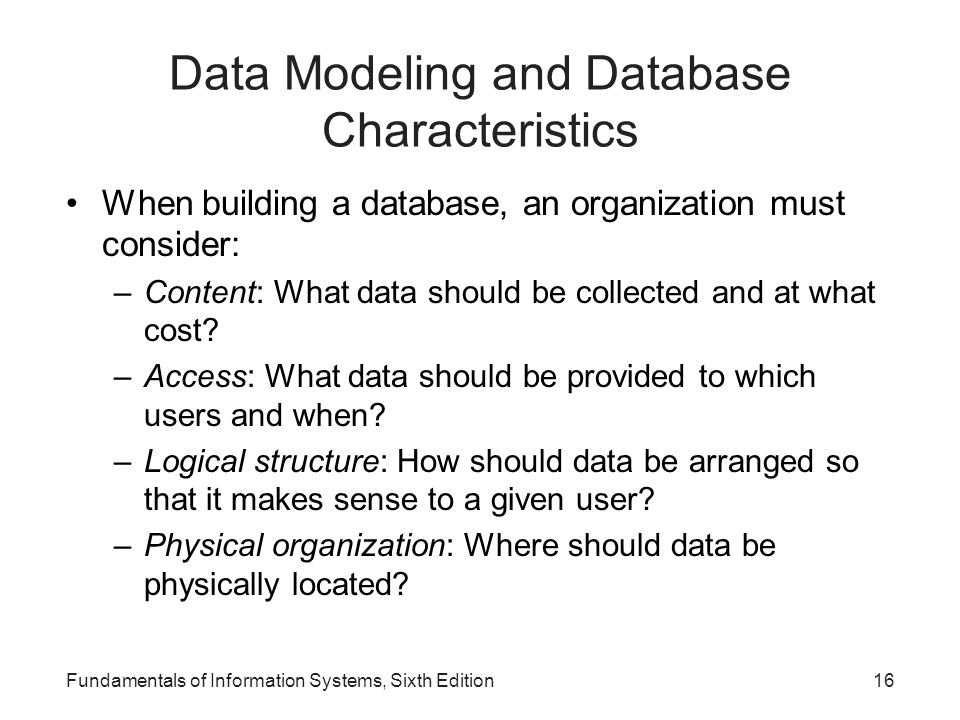 Data Modeling and Database Characteristics