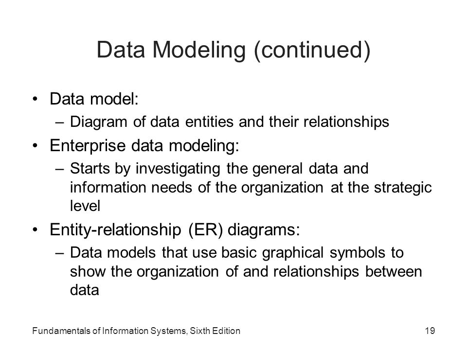 Data Modeling (continued)