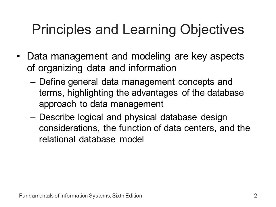 Principles and Learning Objectives