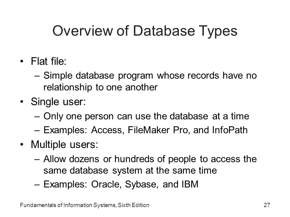 Overview of Database Types