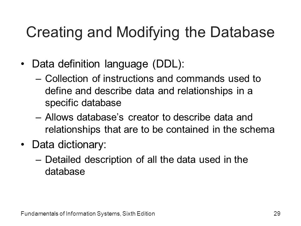 Creating and Modifying the Database