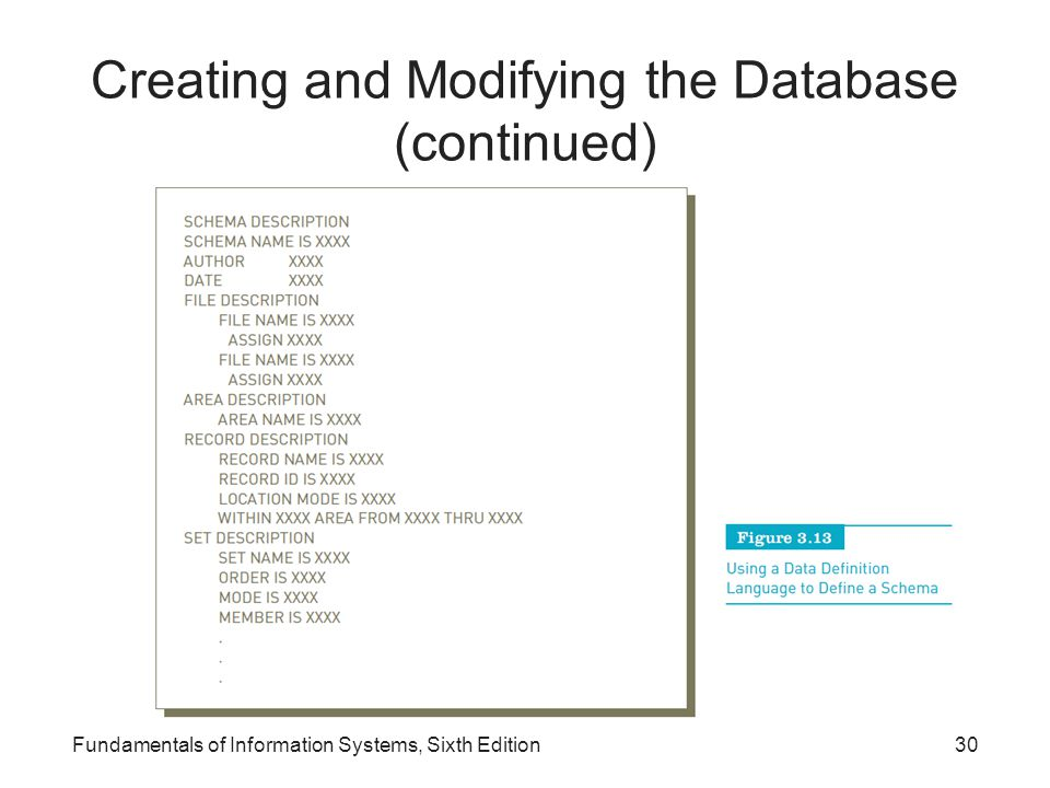 Creating and Modifying the Database (continued)