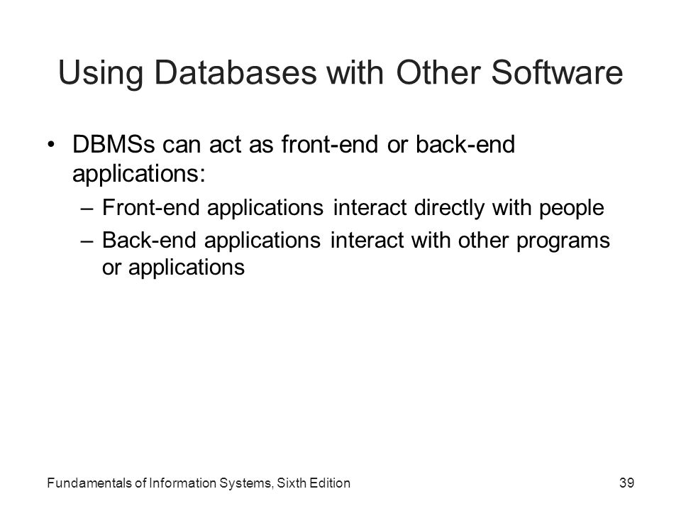 Using Databases with Other Software
