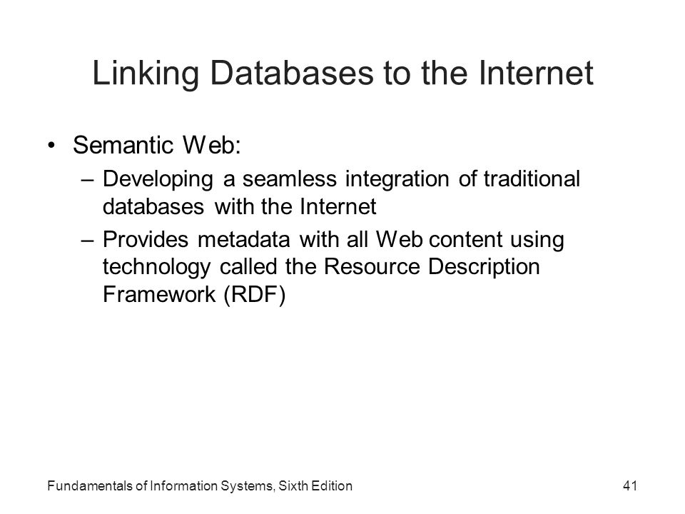 Linking Databases to the Internet