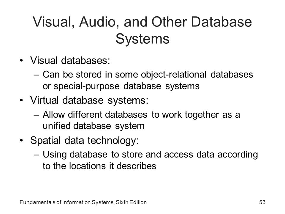 Visual, Audio, and Other Database Systems