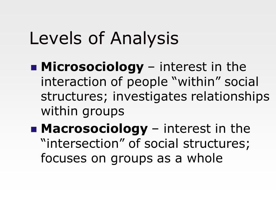 Levels of Analysis Microsociology – interest in the interaction of people within social structures; investigates relationships within groups.