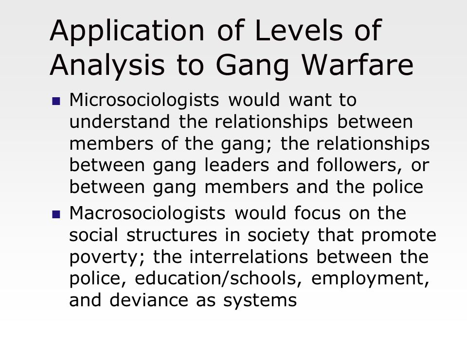 Application of Levels of Analysis to Gang Warfare