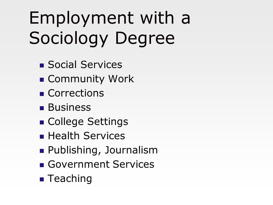 Employment with a Sociology Degree