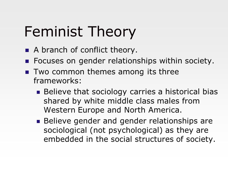 Feminist Theory A branch of conflict theory.