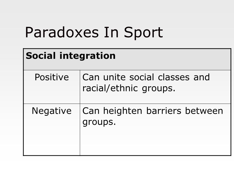 Paradoxes In Sport Social integration Positive