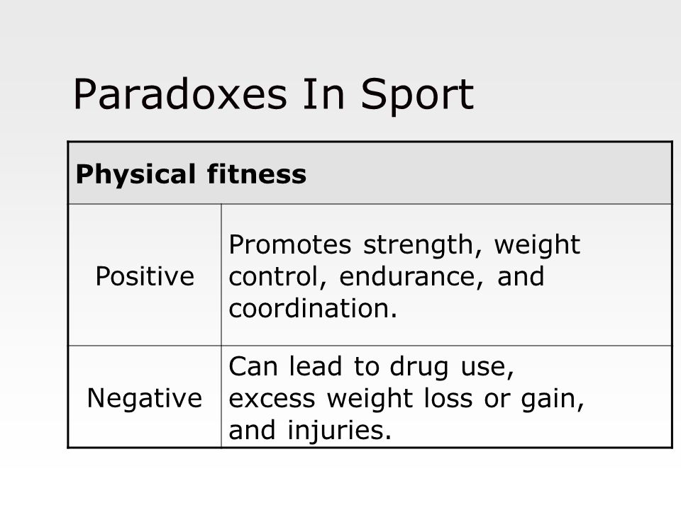 Paradoxes In Sport Physical fitness