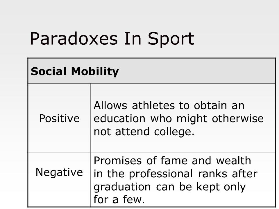 Paradoxes In Sport Social Mobility