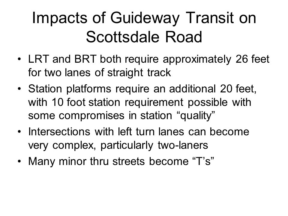Impacts of Guideway Transit on Scottsdale Road