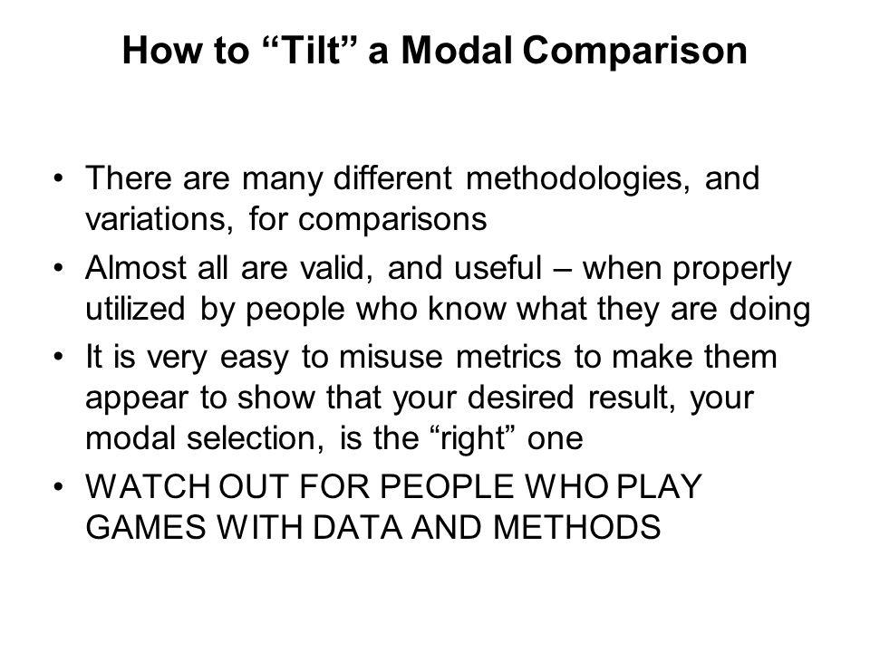 How to Tilt a Modal Comparison