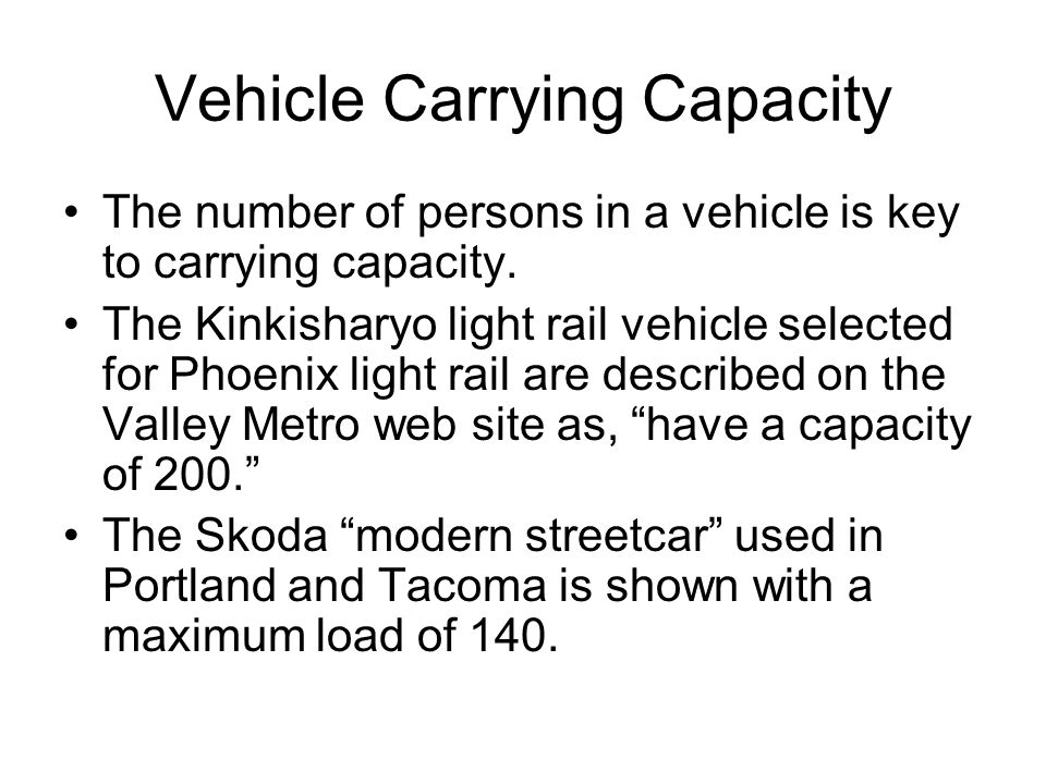 Vehicle Carrying Capacity