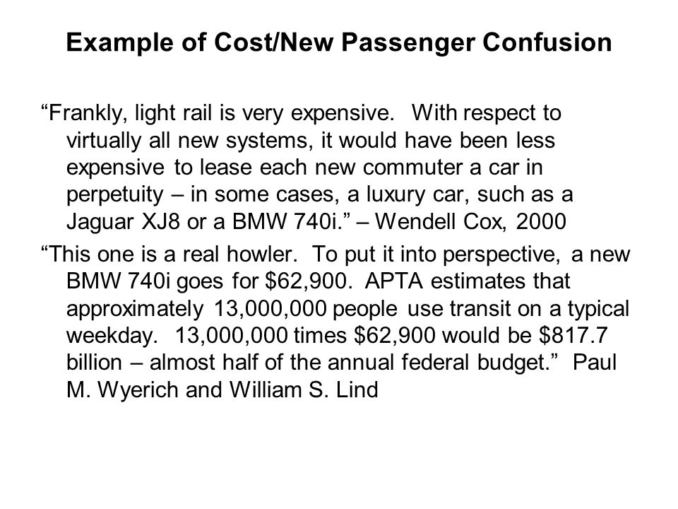 Example of Cost/New Passenger Confusion