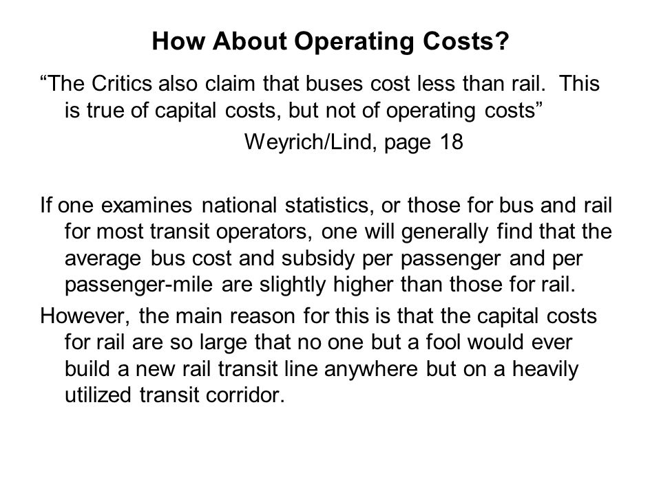 How About Operating Costs