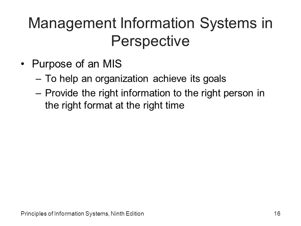 Management Information Systems in Perspective