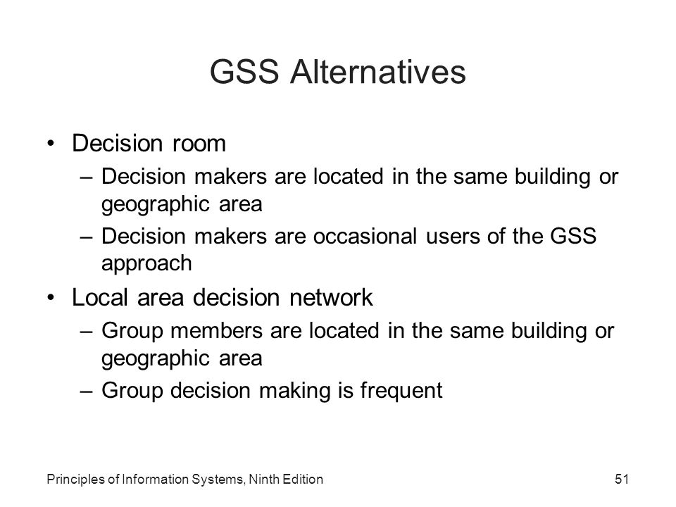 GSS Alternatives Decision room Local area decision network