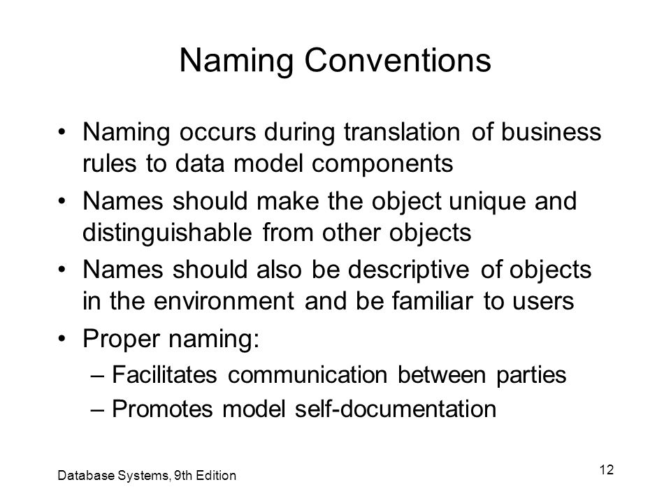 Naming Conventions Naming occurs during translation of business rules to data model components.