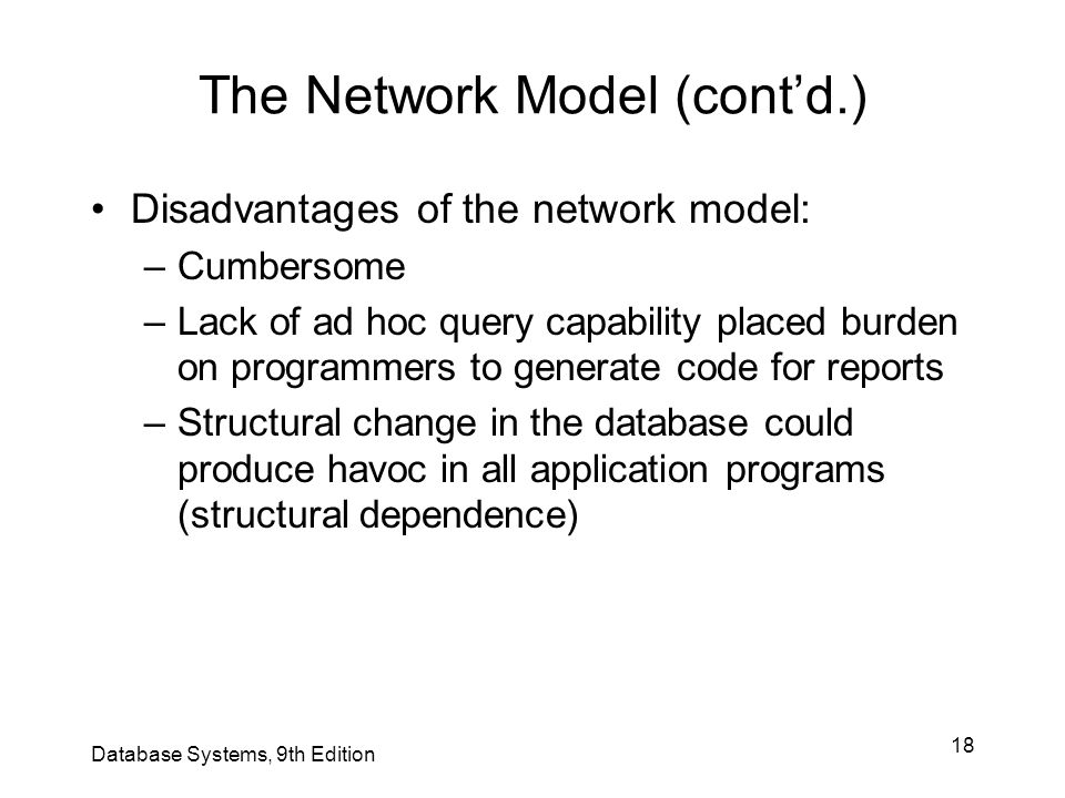 The Network Model (cont'd.)