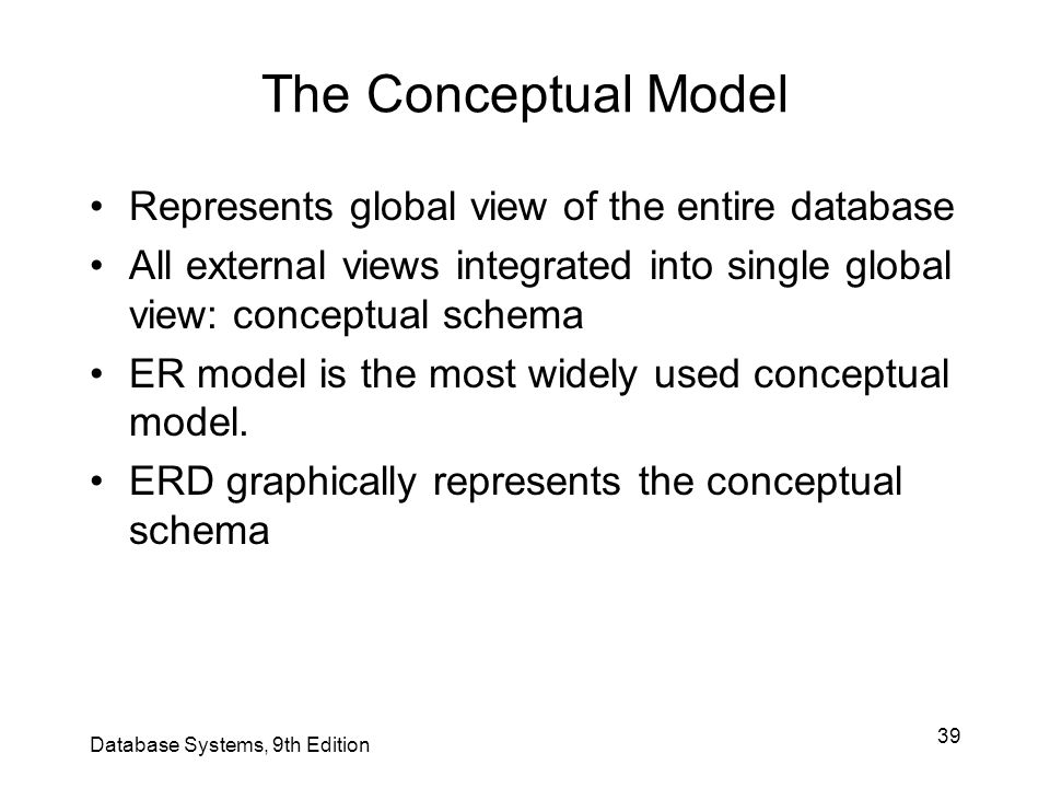The Conceptual Model Represents global view of the entire database