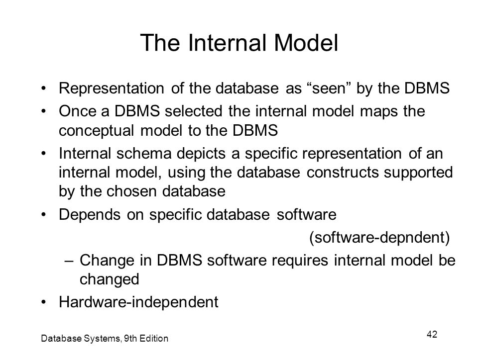 The Internal Model Representation of the database as seen by the DBMS.